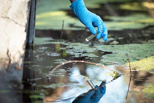 mãos com luvas coletando água do rio para fazer um diagnóstico ambiental